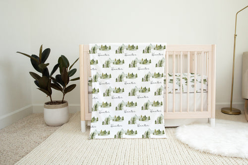 Pine Tree and Mountains Minky Blanket, Forest Nursery Bedding - Wild Green