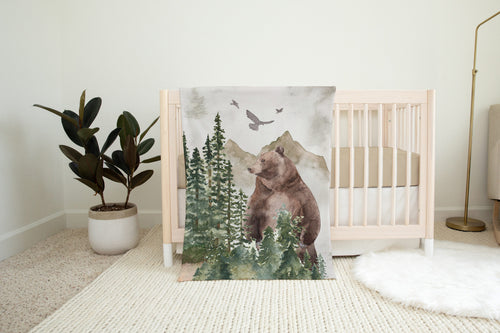 Bear Minky Blanket, Woodland Nursery Bedding - Forest Mist