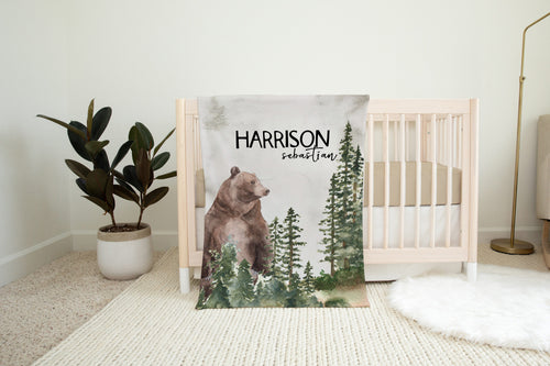 Bear Personalized Minky Blanket, Woodland Nursery Bedding - Forest Mist