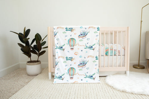 Airplanes Minky Blanket, Aviator Nursery Bedding - Up In The Sky
