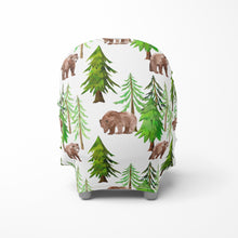 Load image into Gallery viewer, Coniferous Trees and Bear Car Seat Cover, Forest Nursing Cover - Into The Woods