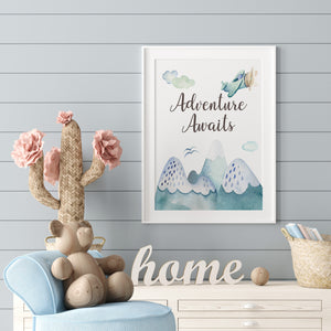 Adventure Awaits Printable Wall Art, Airplane Nursery Print - Up In The Sky