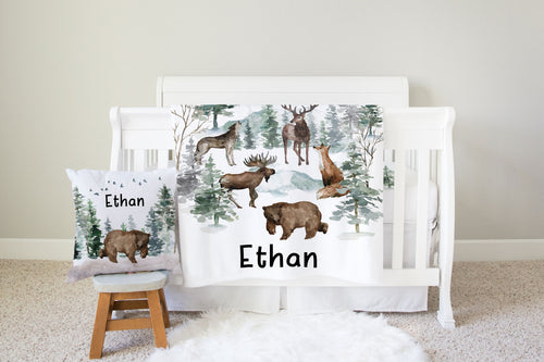 Woodland Nursery Bedding Set - Forest Animals Crib Sheet, Blanket and Pillow - Enchanted Forest