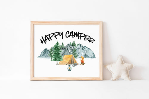 Happy Camper Printable Wall Art, Camping Nursery Print - Little Explorer