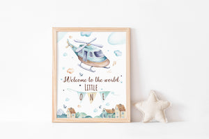 Welcome To The World Printable Wall Art, Airplanes Nursery Print - Up In The Sky