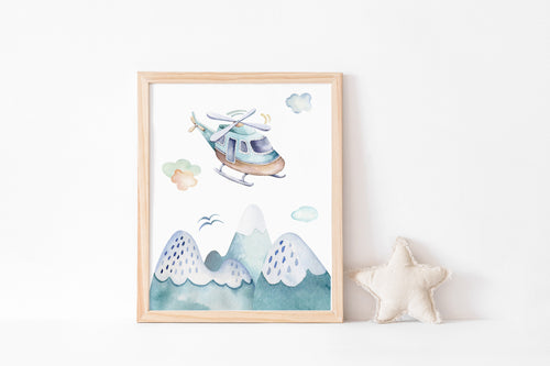 Helicopter Printable Wall Art, Airplanes Nursery Print - Up In The Sky