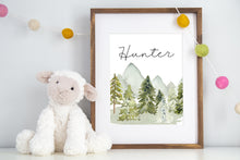 Load image into Gallery viewer, Personalized Forest Wall Art, Woodland Nursery Print Unframed - Wild Green
