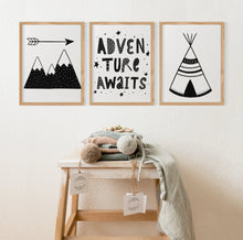 Load image into Gallery viewer, Adventure Awaits Printable Wall Art, Scandinavian Nursery Prints Set of 3