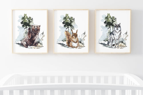 Bear Fox Squirrel Printable Wall Art, Woodland Nursery Prints Set of 3 - Exotic Forest