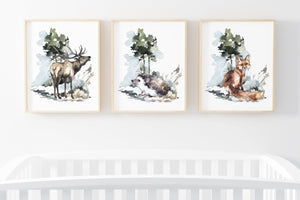 Deer Hedgehog Fox Printable Wall Art, Woodland Nursery Prints Set of 3 - Exotic Forest