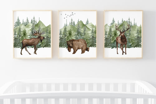 Forest Printable Wall Art, Woodland Nursery Prints Set of 3 - Enchanted Green