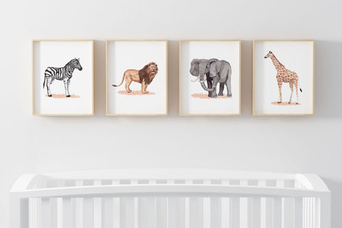 Watercolor Safari Printable Wall Art, Safari Animals Nursery Prints Set of 4 - Savanna
