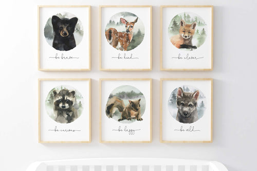 Forest Printable Wall Art, Woodland Nursery Prints Set of 6