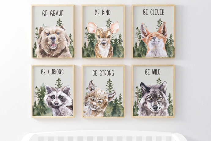 Woodland Animals Printable Wall Art, Forest Nursery Prints Set of 6 - Wild Woodland