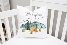 Load image into Gallery viewer, Little Explorer Pillow, Camping Nursery Decor