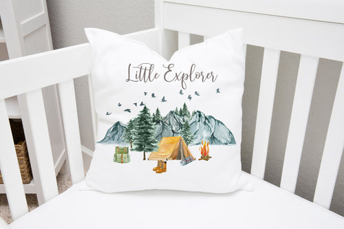 Little Explorer Pillow, Camping Nursery Decor