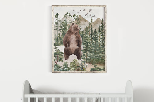 Bear Printable Wall Art, Woodland Nursery Print - Forest Mist