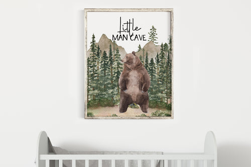 Little man cave Printable Wall Art, Woodland Nursery Print - Forest Mist