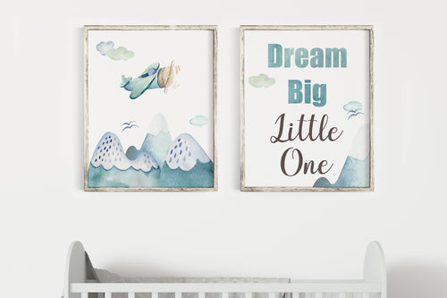 Dream Big Little One Printable Wall Art, Airplane Nursery Prints Set of 2 - Up in The Sky