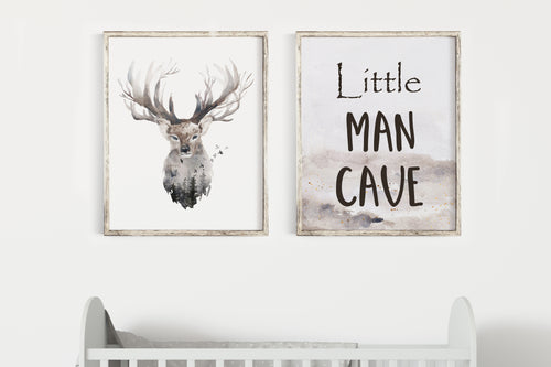 Little Man Cave Printable Wall Art, Woodland Nursery Prints Set of 2 - Enchanted Forest