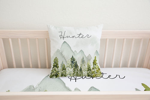Pine Trees and Mountains Personalized Pillow, Woodland Nursery Decor - Wild Green