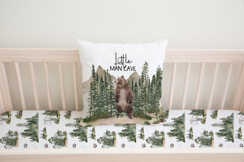 Little Man Cave Bear Pillow Cover, Woodland Nursery Bedding- Forest Mist