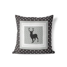 Load image into Gallery viewer, Dots Black Deer Throw Pillow, Rustic Nursery Bedding