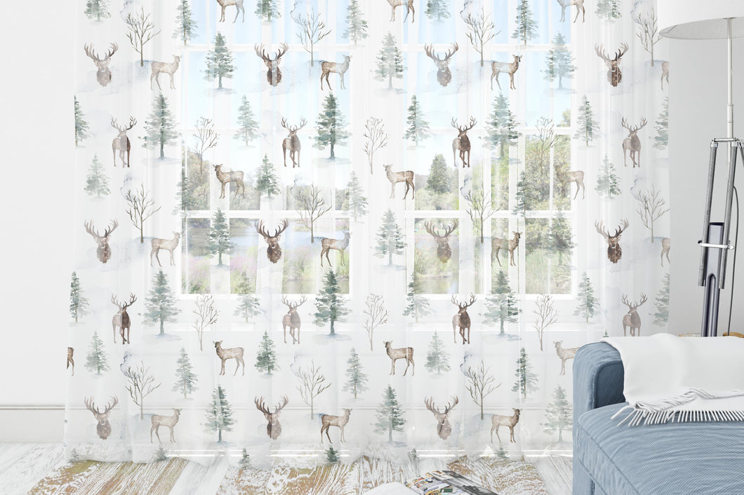 Deer Curtains Blackout or sheer , Forest Nursery Decor - Enchanted Forest