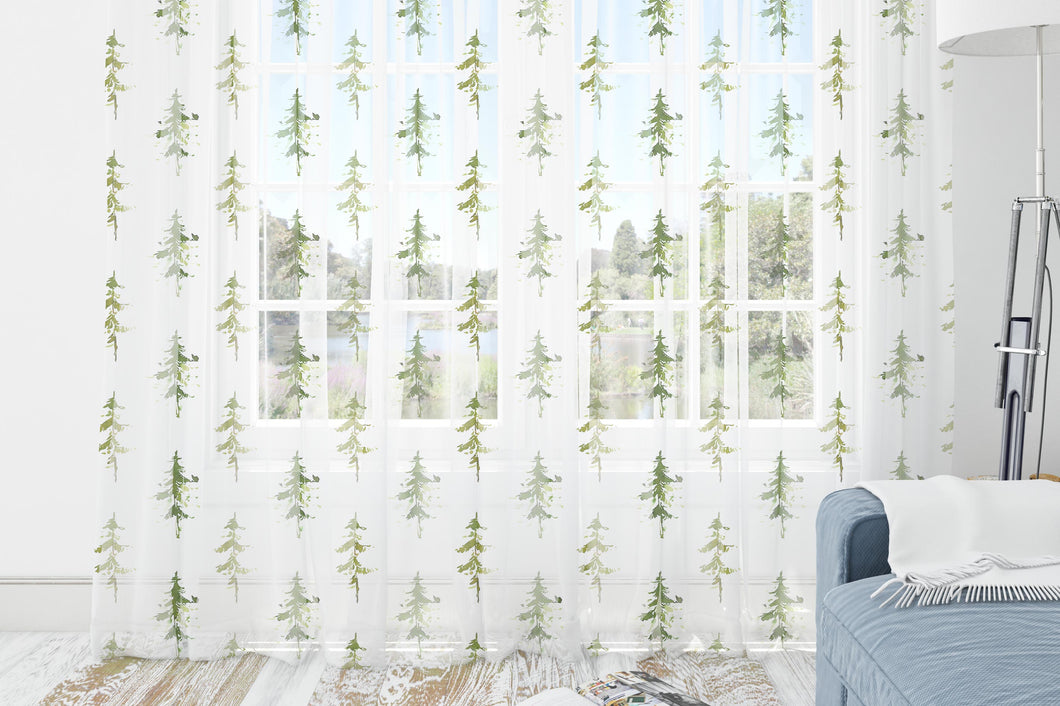Trees Curtain Blackout or Sheer, Forest Nursery Decor - Cabin Story ref8