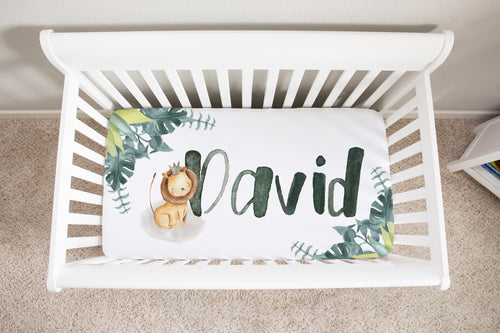 Baby Africa Lion Personalized Minky Crib Sheet, Safari Nursery Bedding