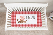 Load image into Gallery viewer, Logan's Farm Red Plaid Pig Personalized Minky Crib Sheet, Farm Nursery Bedding