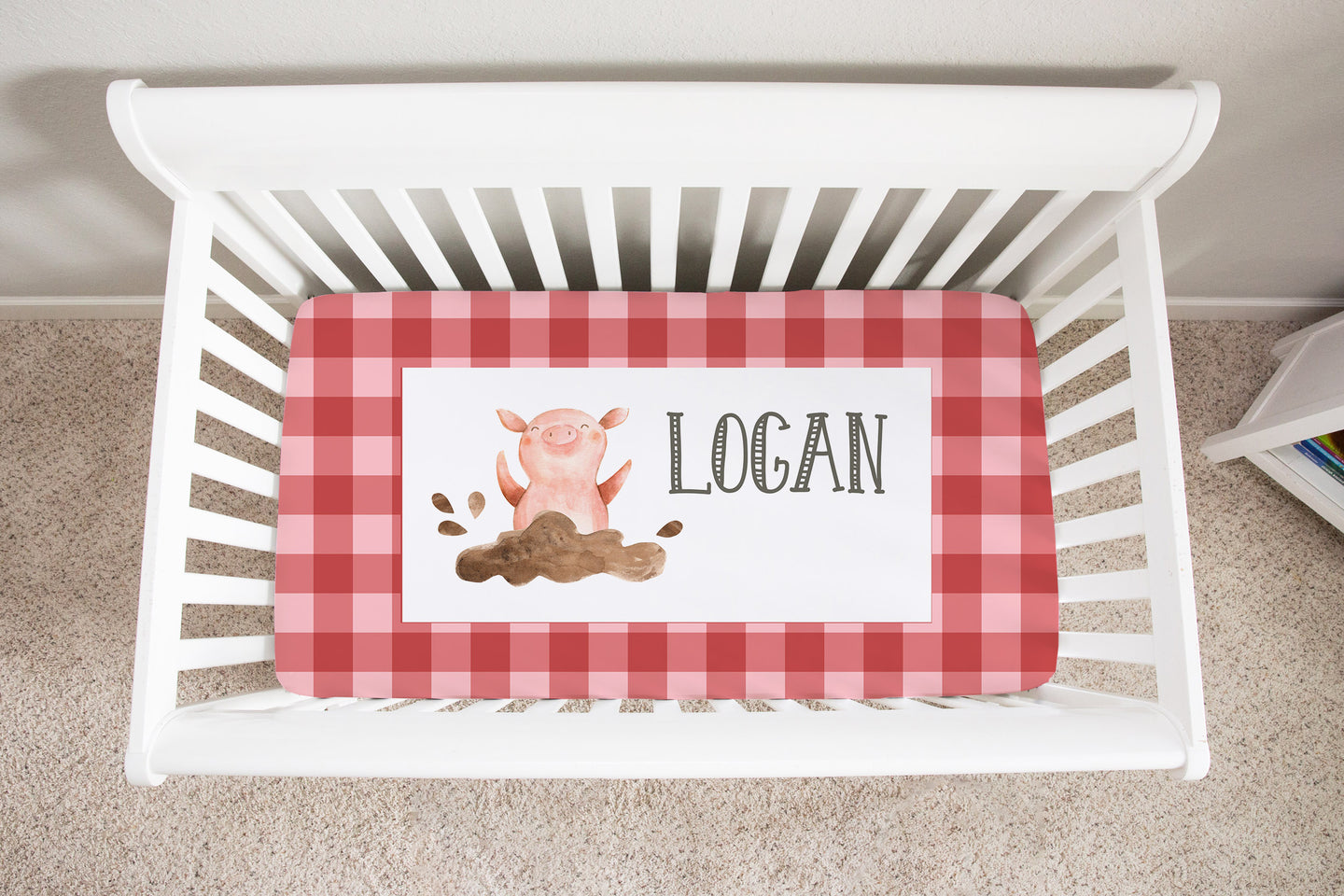 Logan's Farm Red Plaid Pig Personalized Minky Crib Sheet, Farm Nursery Bedding