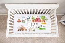 Load image into Gallery viewer, Logan's Farm Personalized Minky Crib Sheet, Farm Nursery Bedding