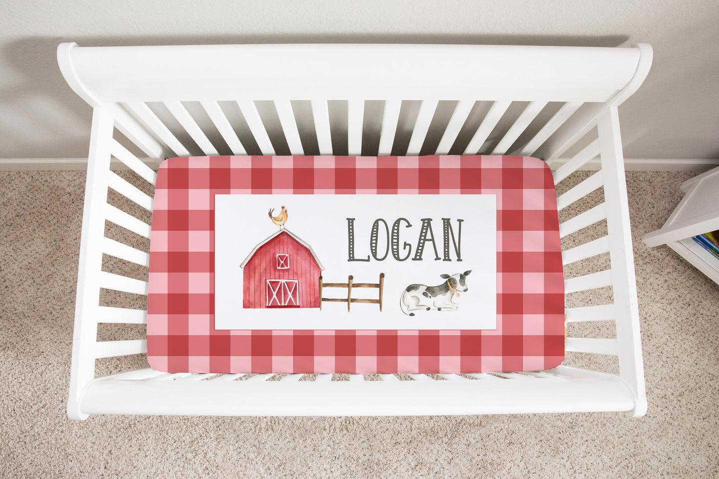 Logan's Farm Red Plaid Personalized Minky Crib Sheet, Farm Nursery Bedding