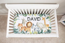 Load image into Gallery viewer, Baby Africa Personalized Minky Crib Sheet, Safari Nursery Bedding