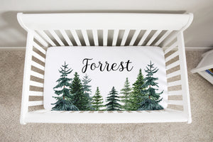 Forest Nursery Bedding Set - Woodland Crib Sheet, Blanket and Pillow - The Forest