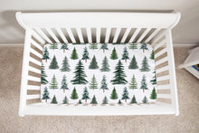 Load image into Gallery viewer, The Forest Pine Trees Minky Crib Sheet, Forest Nursery Bedding