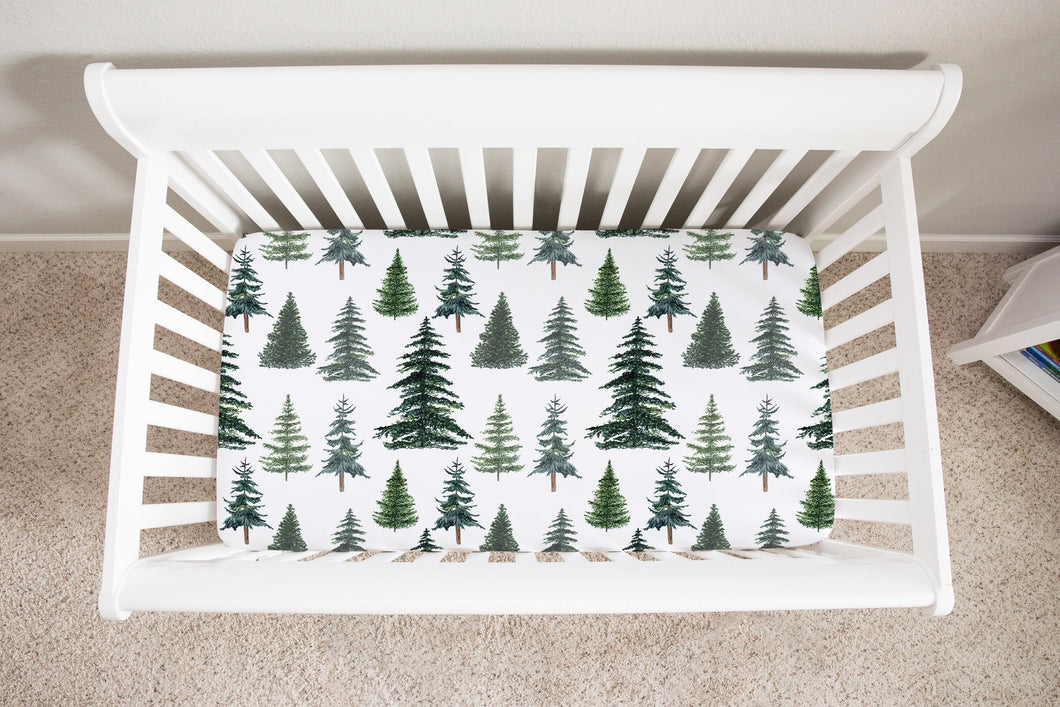 The Forest Pine Trees Minky Crib Sheet, Forest Nursery Bedding