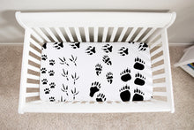 Load image into Gallery viewer, Animal Tracks Crib Sheet, woodland baby bedding