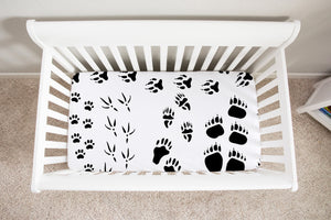 Animal Tracks Crib Sheet, woodland baby bedding