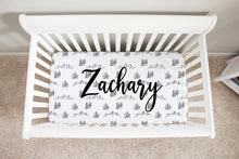 Load image into Gallery viewer, Personalized Black and White Trees Minky Crib Sheet, Forest Nursery Bedding