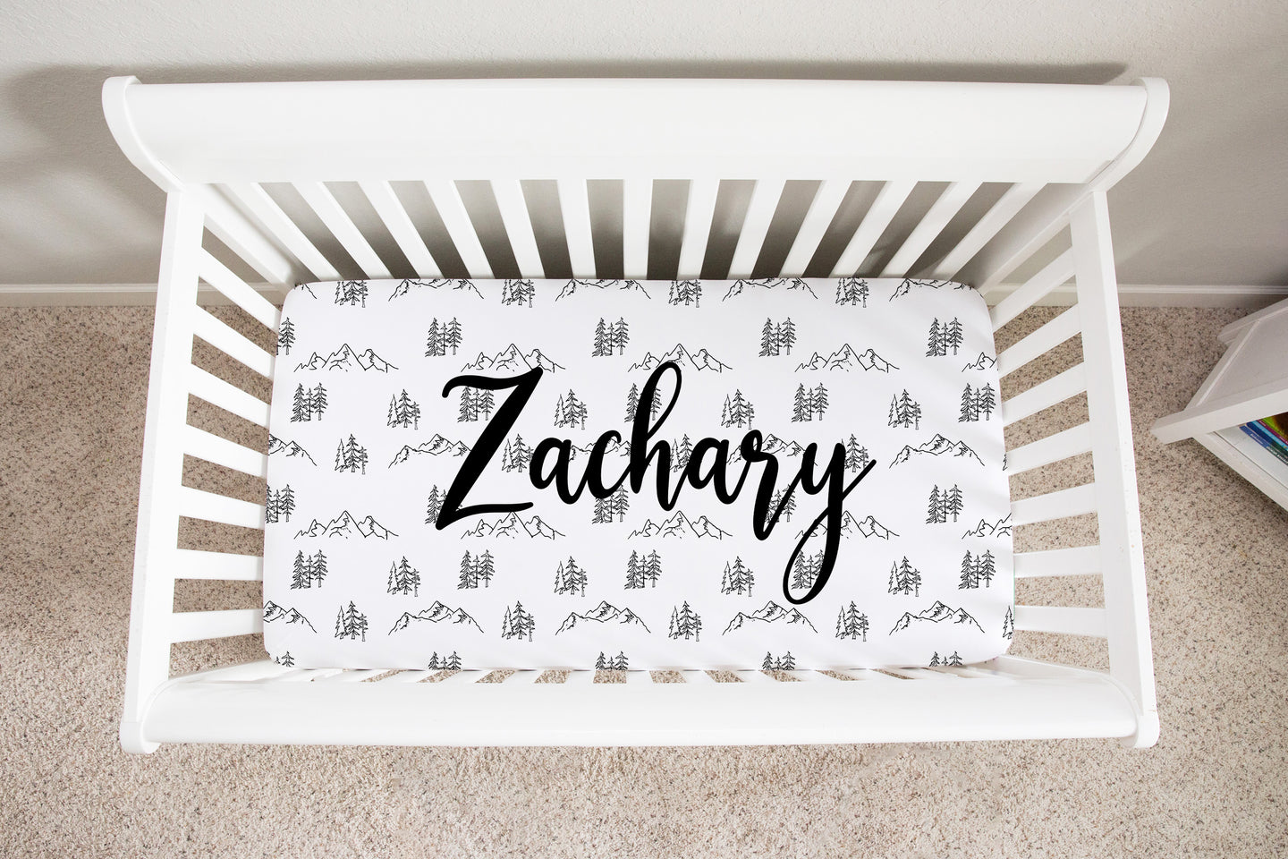 Personalized Black and White Trees Minky Crib Sheet, Forest Nursery Bedding