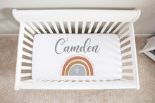 Load image into Gallery viewer, Be A Kind Rainbow Personalized Minky Crib Sheet, Rainbow Nursery Bedding