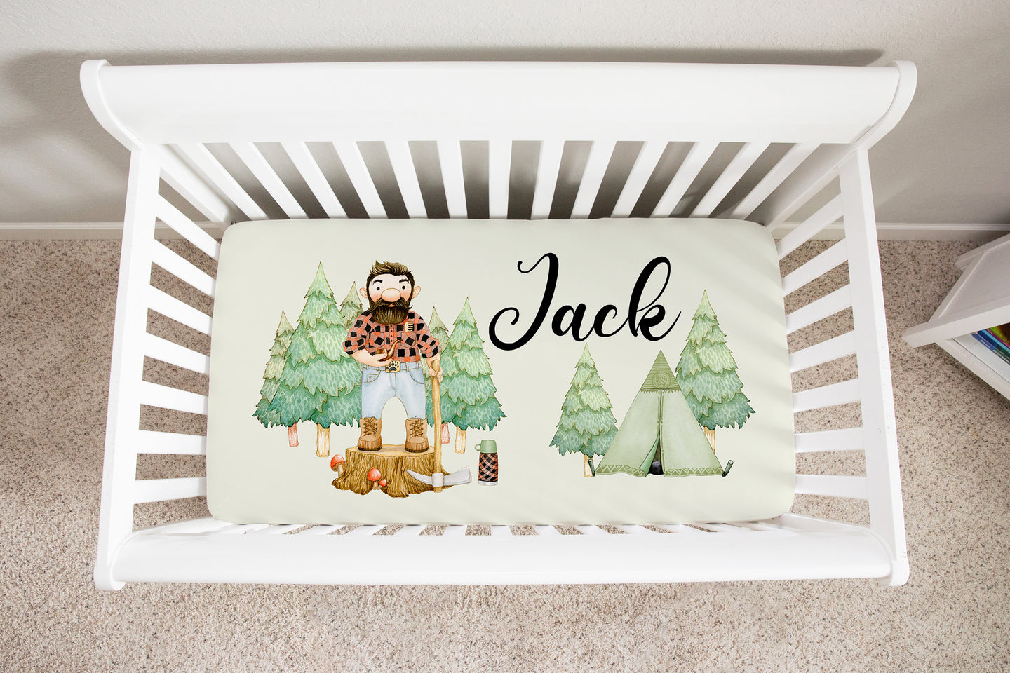 Jack Personalized Minky Crib Sheet, Lumberjack Nursery Bedding