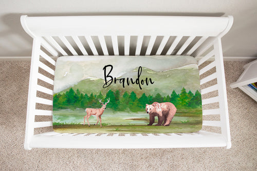 Bear and Deer Personalized Minky Crib Sheet, Woodland Nursery Bedding - Grizzly Bear