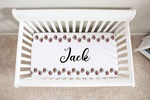 Jack Bear Paws Personalized Minky Crib Sheet, Lumberjack Nursery Bedding