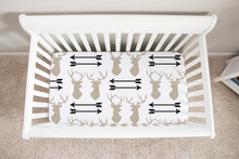 Load image into Gallery viewer, Deer Arrows Crib Sheets, Rustic Baby Bedding
