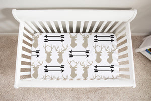 Deer Arrows Crib Sheets, Rustic Baby Bedding