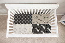 Load image into Gallery viewer, Antler Patchwork Arrows Crib Sheet, Rustic Baby Bedding