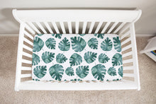 Load image into Gallery viewer, Baby Africa Blue Monstera Minky Crib Sheet, Safari Nursery Bedding
